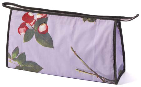 wash bags, toiletry bags, makeup bag, photo realistic floral print of roses, bed of roses design on lilac