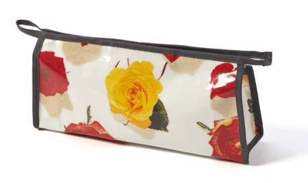wash bags, toiletry bags, makeup bag, photo realistic floral print of rose heads, summer rose design on white