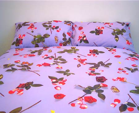Egyptian cotton bedding, floral duvet, girls duvet cover, floral sheets, cotton pillowcase, photo realistic floral print of roses, bed of roses design on lilac