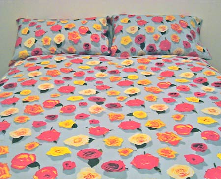 Egyptian cotton bedding, floral duvet, floral sheets, cotton pillowcase, photo realistic floral print of rose heads, summer rose design on blue