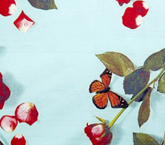 rose fabric, Egyptian cotton linen, photo realistic floral print of roses, bed of roses design on turquoise blue