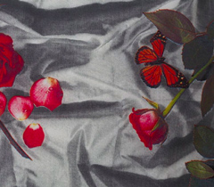 Egyptian cotton linen, crumpled satin and rose fabric, photo realistic floral print of crumpled satin and roses