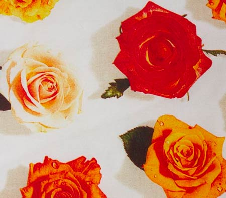 rose fabric, Egyptian cotton linen, photo realistic floral print of rose heads, summer rose design on white