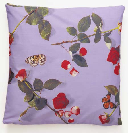 floral cushion, rose fabric, cotton cushion, printed cushion, photo realistic floral print of roses, bed of roses design on lilac