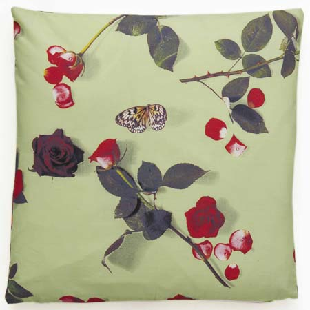 floral cushion, rose fabric, cotton cushion, printed cushion, photo realistic floral print of roses, bed of roses design on mint green