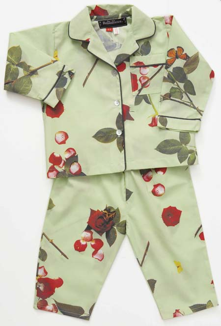 kids pyjamas, girls pjs, childrens pyjamas, photo realistic floral print of roses, bed of roses design on mint green
