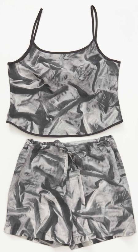 ladies sleepwear, summer pyjamas, ladies camisole, pyjama shorts, photo realistic print of crumpled satin