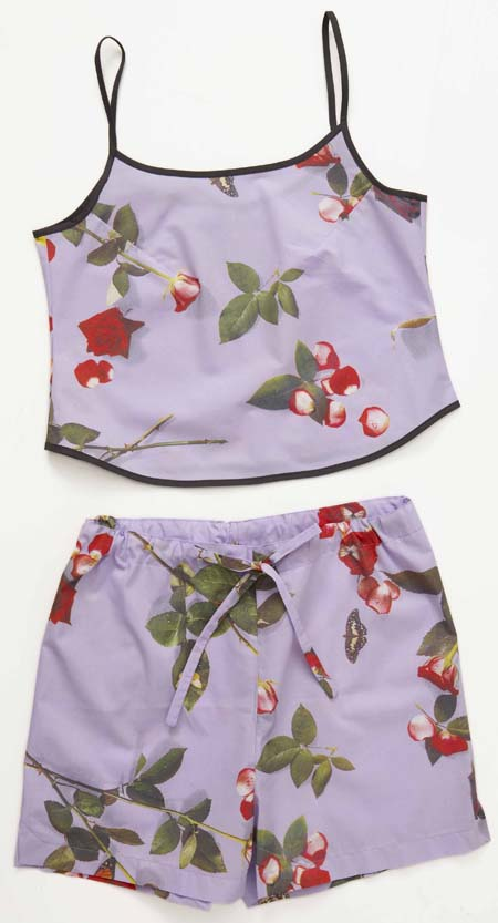 ladies sleepwear, summer pyjamas, ladies camisole, pyjama shorts, photo realistic floral print of roses, bed of roses design on lilac