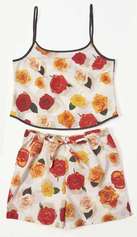 ladies sleepwear, summer pyjamas, ladies camisole, pyjama shorts, photo realistic floral print of rose heads, summer rose design on white