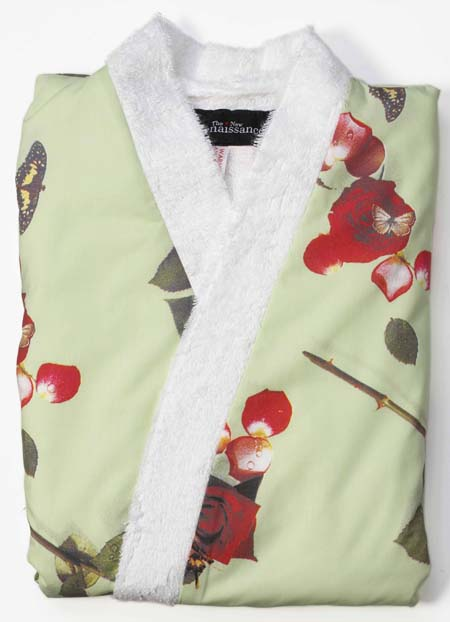 ladies dressing gowns, cotton bath robe, towelling dressing gown, photo realistic floral print of roses, bed of roses design on mint green