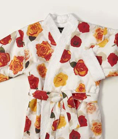 ladies dressing gowns, cotton bath robe, towelling dressing gown, photo realistic floral print of rose heads, summer rose design on white