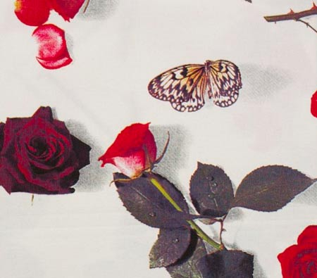 rose fabric, Egyptian Cotton linen, photo realistic floral print of roses, bed of roses design on white